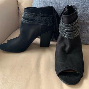 BCBG toeless boot with tassel back detail